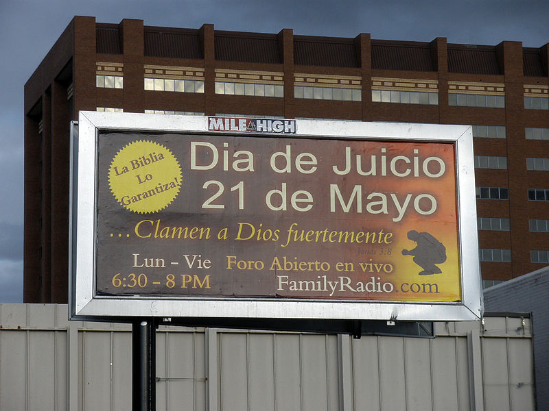 judgment day 2011 billboard. Judgment Day 21 May 2011 in