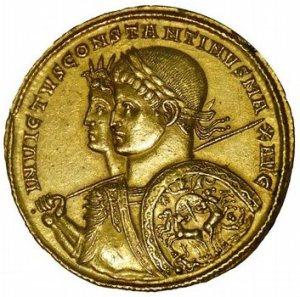 Constantinus II with Licinius Crispus (coin, 4th century CE)