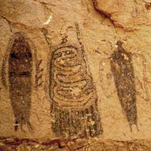 Feathered, with horns, serpent deity (Moab cave art)