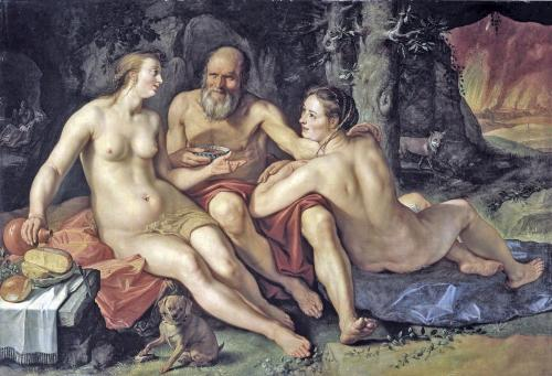 Lot and his daughters (1616 oil on canvas by Dutch artist Hendrik Goltzius)