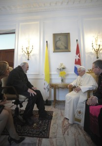 Benedict XVI meets with Cuba leader Fidel Castro