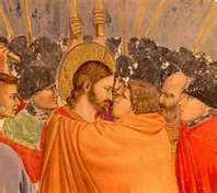 Judas kisses Jesus on the mouth (painting by Giotto)