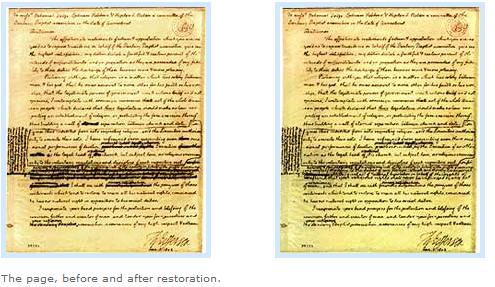 Thomas Jefferson's January 1, 1802, letter to the Danbury (Connecticut) Baptist Association on a wall separation church and state--original in Library of Congress