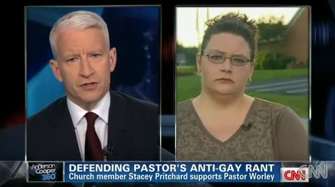 Anderson Cooper interviewing Stacey Pritchard