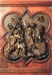 Lorenzo Ghiberti: Sacrifice of Isaac (gilt over bronze 1401 CE)