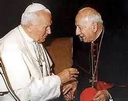 Pope John Paul II with papal nuncio Pio cardinal Laghi