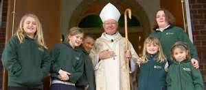 Bishop William S. Skylstad greets students