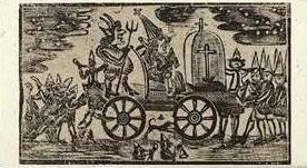 18th century carricature of Pope on Guy Fawkes Night in Boston