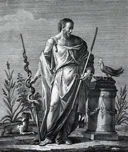Aesculapius, Greek God of Medicine and Healing with serpent (Wisdom) on staff, and cock (health and ease of death) on pedestal.