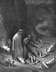 In Inferno canto 19 Dante rebukes pope Nicholas III in the fourth bolgia