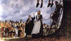 Puritans in Massachusetts Bay Colony hanging Quakers